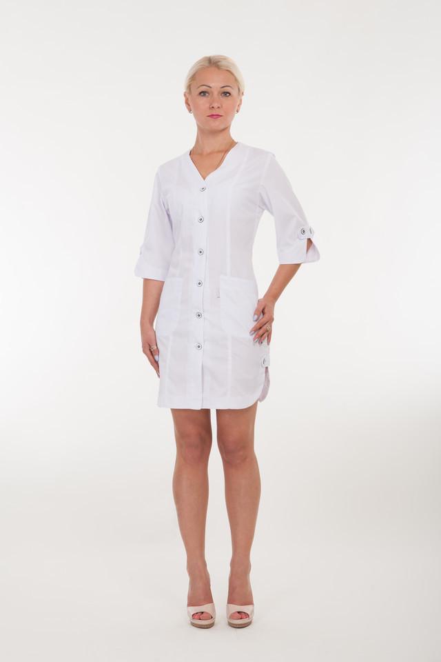 Белый медицинский халат без воротника размер: 40-60