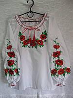 """Вышиванка для девочки """"Маки""""р 140-152-158-164-170"""