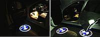 Лазерная проекция логотипа в двери BMW