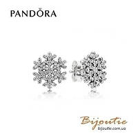 Серьги Pandora СНЕЖИНКИ #290589CZ серебро 925 цирконий Пандора оригинал