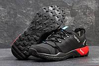 Мужские кроссовки Adidas Terrex. Нубук. Чёрные с красным