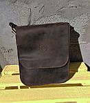 Кожаная мужская сумка VS214 Crazy horse brown 20х23х5.5  см, фото 5