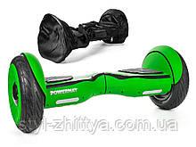 """Електро-скейборд 10"""" гіроборд, Powermat + сумка салатовий"""