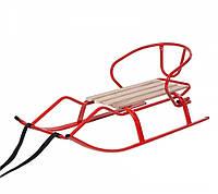 Санки детские и взрослых металлические со спинкой «Спорт F1» красный