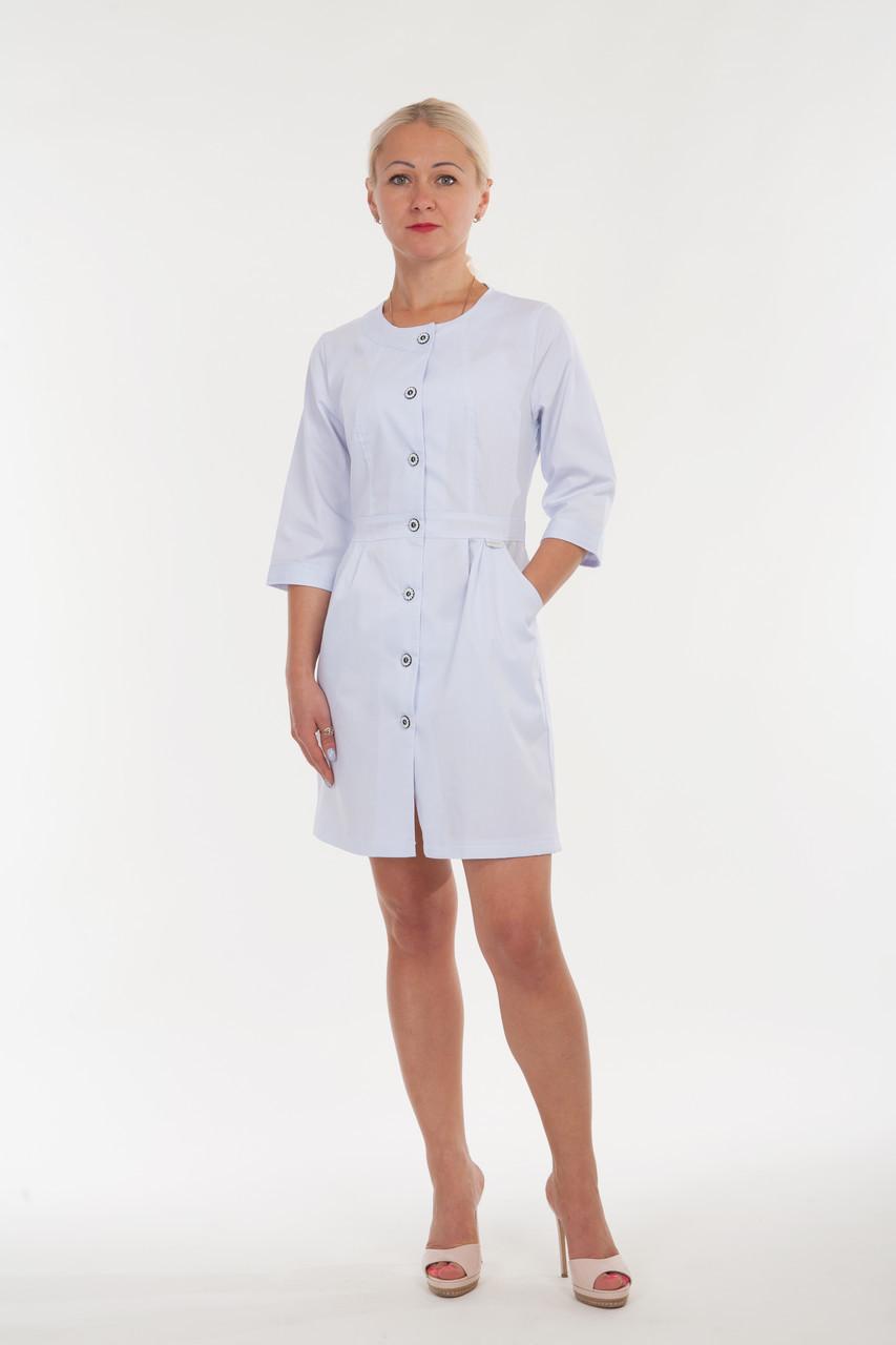 Напівприталений медичний халат з круглим вирізом розмір: 40-52