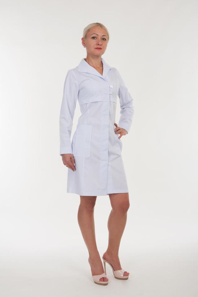 Белый халат доктора с длинным рукавом размер: 40-56