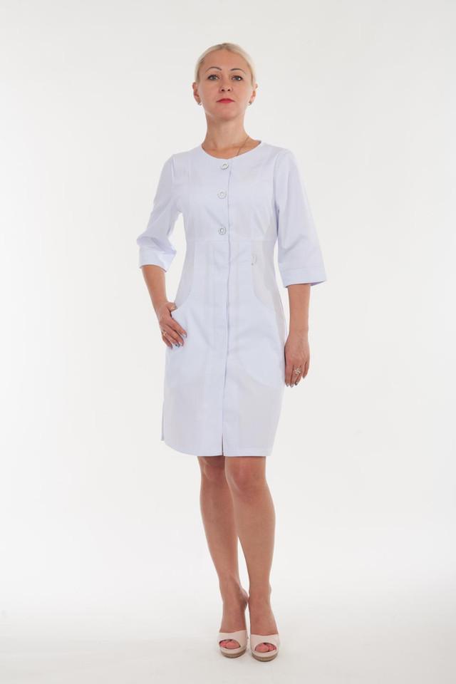 Однотонный белый халат из коттона размер:40-60