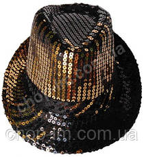 "Шляпа ""Диско"" (черная с золотистыми блестками), фото 2"