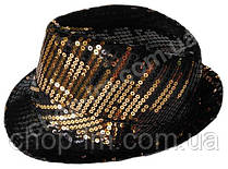"Шляпа ""Диско"" (черная с золотистыми блестками), фото 3"