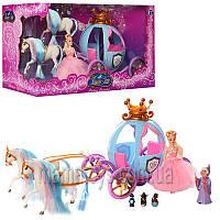 Карета TG 778397/201 кукла 15 см, 2 лошади, фея, мыши, свет, на бат-ке,