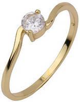 Позолоченное кольцо с цирконами, размер 16 (GF48)