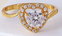Кольцо позолота Gold Filled, цирконы (GF75) размер 16