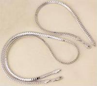 Набор накат белым золотом - родий цепочка и браслет (GF497)