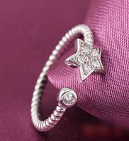 Кольцо Звездочка с цирконами. Покрытие серебром