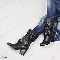 Демисезонные женские кожаные сапоги со съемным ремешком черные, фото 1