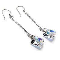 Серебряные серьги с кристаллами Сваровски (SF22)
