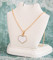 Кулон на цепочке Сердечко цвет белый (tb1386)