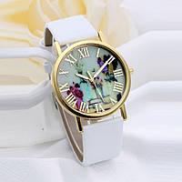 Часы женские Женева Geneva Винтажные цветы белые 069-1