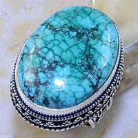 Бирюза в серебре кольцо с бирюзой размер 18,5., фото 1
