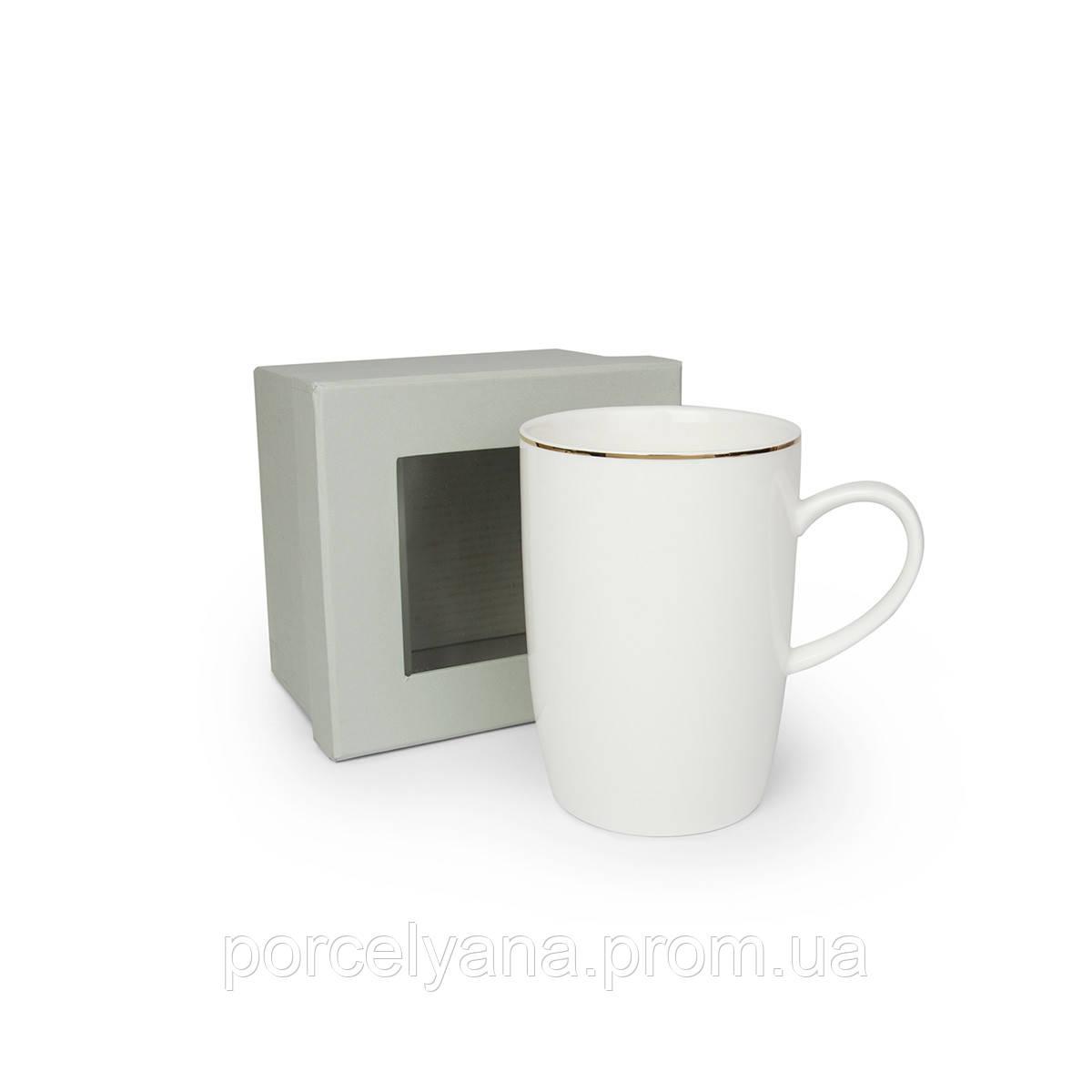 Чашка белая керамика серебро 450мл Anlux