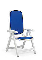Кресло садовое раскладное Delta белое/синее
