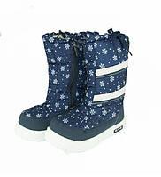 Дутики Снежинки Подростковые зимние сапожки на девочек размер 32 34 35
