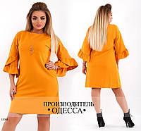 Платье 412 рукав отделка волан R-13068 горчица