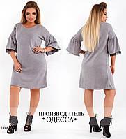 Платье 416 рукав отделка волан R-13064 серый