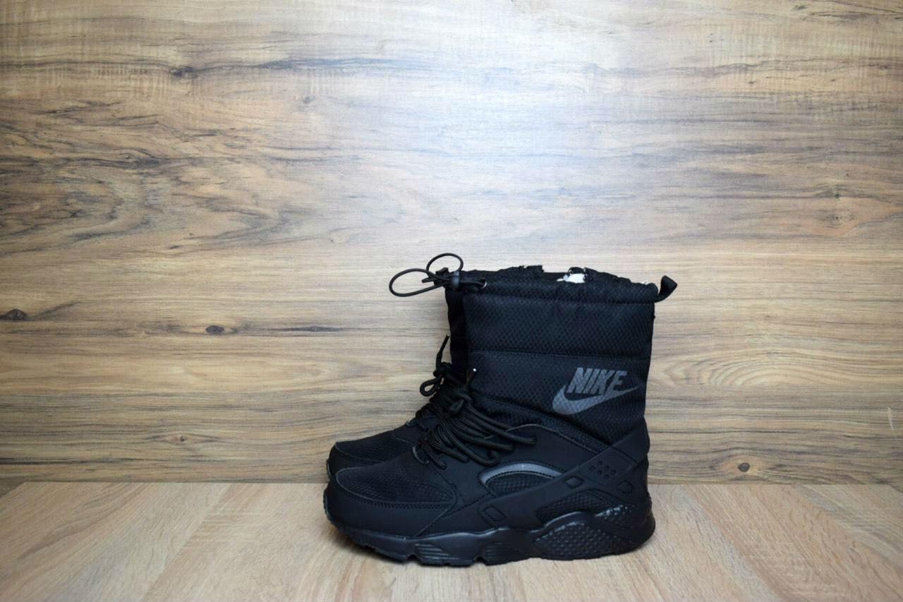 735a3aa2 Женские зимние сапоги в стиле Nike Huarache черные кожа мех овчина, цена 1  249 грн., купить в Одессе — Prom.ua (ID#588520245)