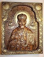 """Резная деревянная икона  """"Николай Чудотворец"""" патинированная золотом, фото 1"""