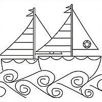 """Холст с контуром """"Кораблики"""" (25см*25см)"""