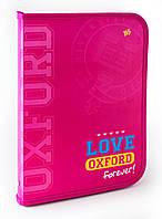 """Папка для труда пласт. на молнии  с внутр. карманом А4 """"Oxford"""" розовый"""