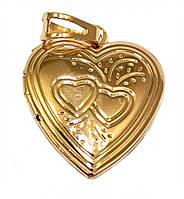 "Кулон открывающийся,""Сердце"" фирма Xuping, цвет: позолота .Высота кулона: 3 см. Ширина: 20 мм."