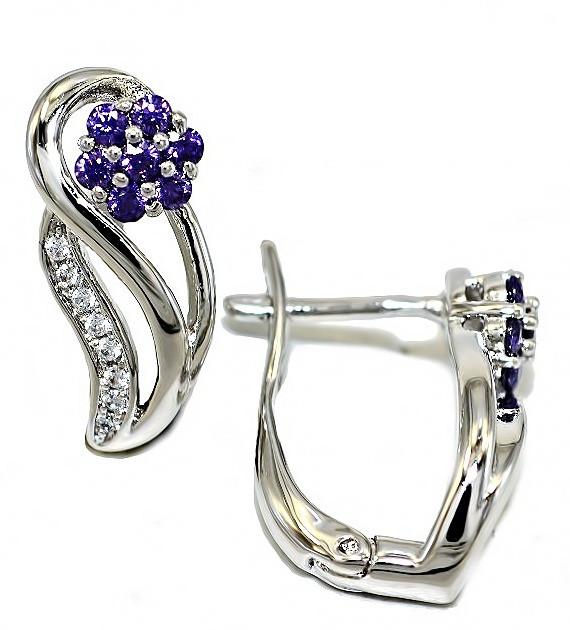 Сережки ХР Родій. Камінь: білий і бузковий циркон. Висота сережки 1,7 см. ширина 7 мм