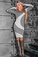 Теплое женское серое платье 2370 Seventeen 44-50 размеры