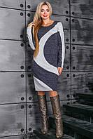 Теплое женское темно-синее платье 2369 Seventeen 44-50 размеры