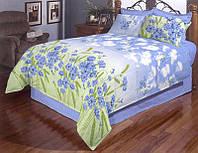 """Высококачественное двуспальное постельное белье бязь голд """"Волошки на голубом"""""""