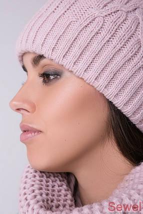 Вязаная зимняя женская шапка с бубоном, фото 2