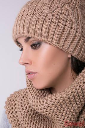 Теплая женская шапка с бубоном, фото 2