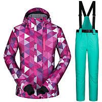 Женский горнолыжный костюм с геометрическим узором