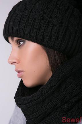 Черная вязаная женская шапка с бубоном, фото 2