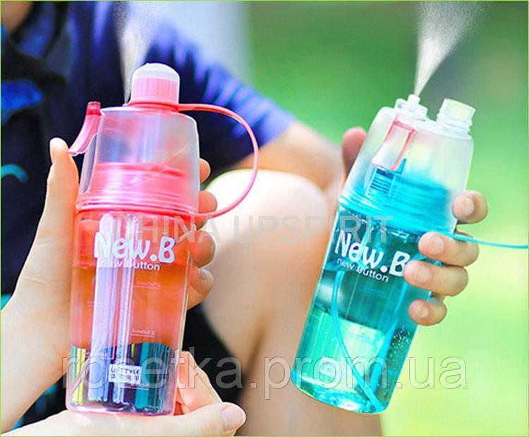 Питьевая вело фляга с распылителем New Button, пластиковая бутылочка-спрей для воды 400 мл., фото 1