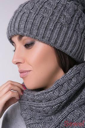 Модная вязаная женская шапка с бубоном, фото 2