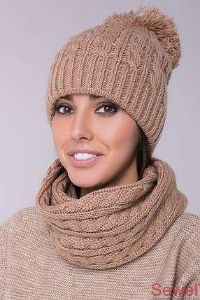 Женская зимняя шапка с бубоном, фото 2