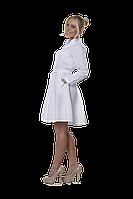 Халат медицинский женский Маргарита 46-170 рубашечный белый-белый