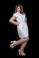 Халат медицинский женский Софи 44-170 рубашечный белый-белый