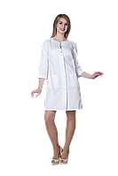 Халат медицинский женский Эмели 46-170 рубашечная белый-белый