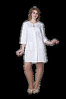 Халат медицинский женский Эмели 48-170 рубашечная белый-белый