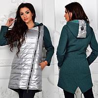 """Куртка Плащевка """"металлик"""", трехнитка Украшение на капюшоне Чёрный, зелёный, марсала, серый джинсовый ля №марс"""