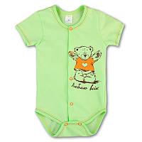 Боди короткий рукав, распашной на кнопках. Бодик для новорожденного, на рост - 62, 68, 74, 80 см. (арт:1-24н)